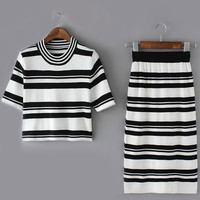 Short Sleeve Top With Striped White Skirt