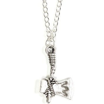 Tomahawk Axe Necklace Vintage Silver Tone Native American Hatchet Pendant NP10 Fashion Jewelry