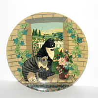 "Decorative Cat Plate for Display , 10"" Collectible Plate Striped Cats and Ivy , Wall Decor , Cat Lover Gift"