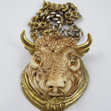 RAZZA Bull Necklace Zodiac Taurus The Bull Astrology Resin Bull Figural Jewelry Luke Razza 1970s Jewelry