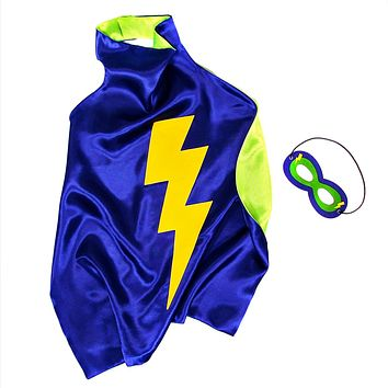 Kids Superhero Cape Double Sided Super Hero Capes for Boys Navy Lime