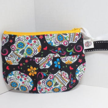 Sugar skull Zip Pouch - Skull Zip pouch - Skulls Bag - Zipper Pouch - Pleated Pouch