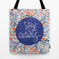 Stay Curious – Navy & Coral Tote Bag by Cat Coquillette