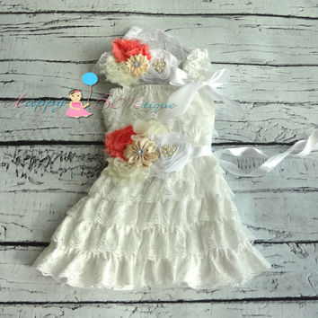 Girl Victorian Coral White  Lace Dress / Girl Coral and white Dress