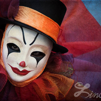 Extra Large Fine Art Print Clown Face Photography. Photo Wall Art Clown in Mask. Colorful Home Decor Art Print Clown From Venice Carnival