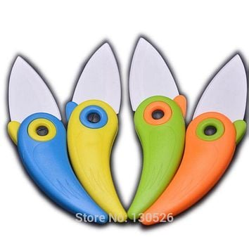 Mini Fruit knife Bird Ceramic Knife Pocket Folding Knives Safety & Health Kitchen Fruit Paring Knife With Colourful ABS Handle