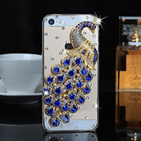 "iPhone 6 Case, MC Fashion Peacock Crystal Rhinestone 3D Diamante Hard Shell Phone Case Compatible for Apple iPhone 6 4.7"" (2014) ONLY (Blue)"