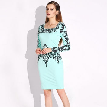New Women Bodycon Long Sleeve Floral Print Ladies Tunic Party Midi Pencil Dress