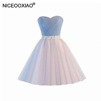 NICEOOXIAO Robe De Soiree Sexy Black Strapless Crystal Luxury Dress Bride Fashion Short Dinner Party Evening Dress