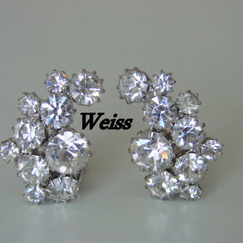 Vintage 50s Weiss Designer Signed Rhinestone Earrings (Wedding, Bridal)