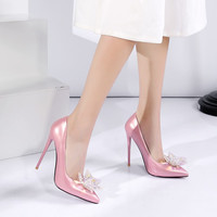 Patent Leather Pointed Toe Rhinestone High Heels Wedding Shoes 6516