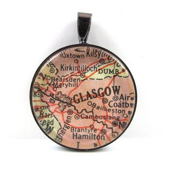 Vintage Map Pendant of Glasgow, Scotland, in Glass Tile Circle