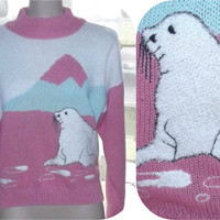 Vintage 80s Arctic Seal Pup Novelty Sweater Plush Knit  Large L Ugly ANDENE