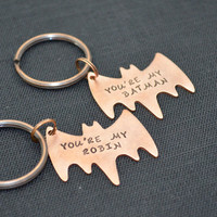 Personalized Hand-Stamped Best Friend Keychain Set- Couple Keychain Set- Batman and Robin