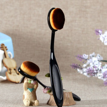 Oval Toothbrush Shaped Makeup Cosmetic Contour Foundation Brush Set Thanksgiving Gift