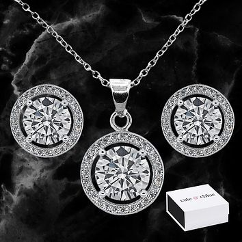Ariel 18k White Gold Cubic Ziconia Earrings and Necklace Jewelry Set