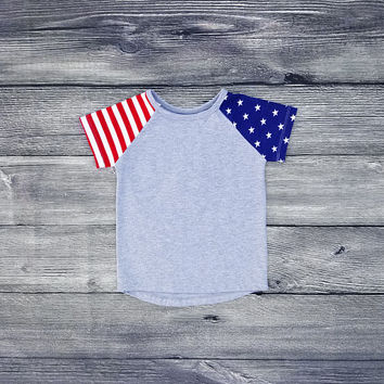 Raglan Tee Baseball Tee Baby Shirt 4th of July Independence Day Tee Shirt American Flag USA Red White Blue Unisex Toddler Tee Baby Tee Boy