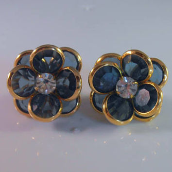 Swarovski Bezel Set Crystal Earrings, Sapphire Blue, Layered Clusters, Rhinestone Centers