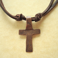 The Old Rugged Cross Necklace. Hand Forged Copper Cross. CUSTOM ORDER.