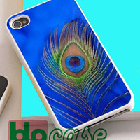 Blue Peacock Feather For Iphone 4/4s, iPhone 5/5s, iPhone 5C, iphone 6, and iPhone 6 Plus Case