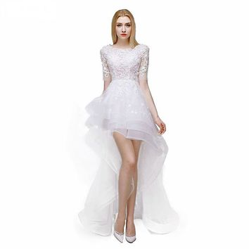 Wedding Dress Sexy Scoop Neck With Appliques Wedding Dresses White Beach Wedding Dress