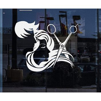 Custom Window and Wall Decal Hair Salon Stylist Hairdresser Barber Shop Stickers Unique Gift (ig4133w)