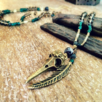 Bird Skull Wisdom Pendant. Native american worrior necklace