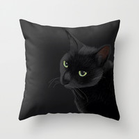 Black cat in the dark Throw Pillow by BATKEI