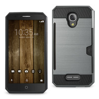 Reiko REIKO ALCATEL FIERCE 4 SLIM ARMOR HYBRID CASE WITH CARD HOLDER IN GRAY