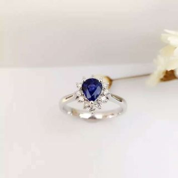 0.762ct+0.215ct 18K Gold Natural Sapphire Women Ring with Diamond Setting 2016 New Fine Jewelry Wedding Band Engagement