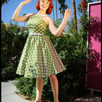 Harley Dress in 1950s Olive and White Fleur De Lis Print | Pinup Girl Clothing