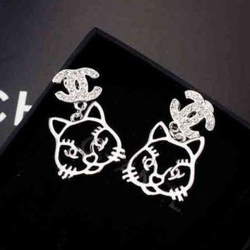 PEAPYV2 Chanel Women Fashion CC Logo Cat Stud Earring Jewelry