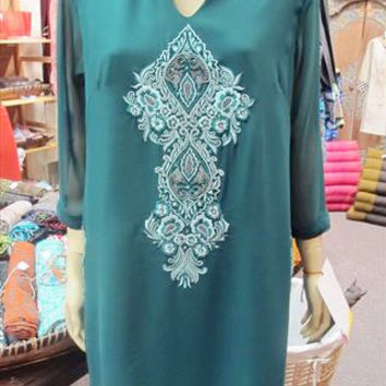 Dark Green Tunic with Light Green Embroidery