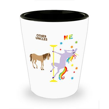 Gay Uncle Gift for Guncle Birthday Gift from Niece Nephew Funny Pole Dancing Unicorn Ceramic Shot Glass