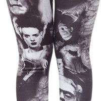 ROCK REBEL UNIVERSAL MONSTERS COLLAGE LEGGINGS BLK/WHT