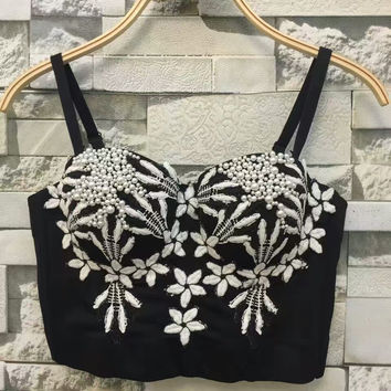 New Fashion 2017 Spring Summer Sexy Embroidery Bead Pearls Push Up Bralette Women's Bustier Bra Cropped Tube Top