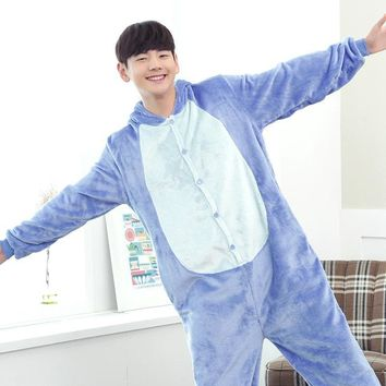 Adult Flannel Onesuit Pijamas Cute Cartoon Animal Blue/Pink Stich Pajamas Sets Cosplay Party Costume Sleepwear For Men