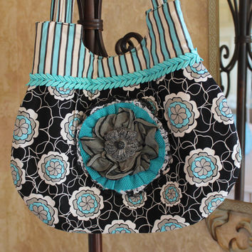 Floral Handbag in Turquoise Slate Grey Black by EmbellishByAndrea