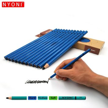 Artist Quality Sketch Pencils Hard Medium Soft 12pcs Charcoal Pencils Non-toxic Drawing Pencil Tools Set for Fine Art Supplies