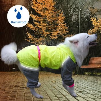 Dog Hooded Raincoat For Dogs Waterproof Reflective Pet Coat Jacket Puppy Clothes For Small Medium Large Dogs Rain Coat Clothing