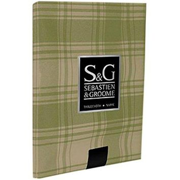 "Sebastien & Groome TCY6033510 American Plaid Tablecloth, 60""x104"", Sage/Beige"