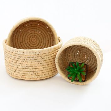10in, 8 1/2in, & 7 1/2in Natural Raffia Cachepot Set
