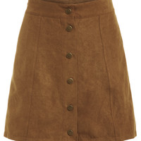 Faux Suede Buttoned Front Skirt - KhakiFor Women-romwe