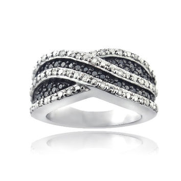 Sterling Silver 1/2ct Black & White Diamond Crossover Wave Band Ring