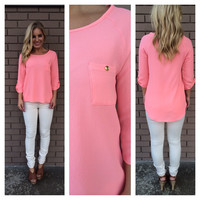 Cute Coral Pocket 3/4 Sleeve Blouse