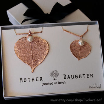 Mother daughter jewelry - matching Rose Gold Aspen Leaf Pendants for Mom & daughter leaf Necklaces Genuine Aspen Leaf dipped with pearl