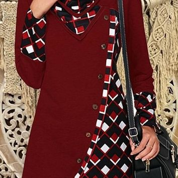 New Red Patchwork Buttons Cut Out V-neck Long Sleeve Fashion Pullover Sweatshirt