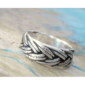 Nautical Braided Silver Ring