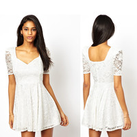 Women's Fashion High Rise Shaped Slim Short Sleeve Lace One Piece Dress [6046465217]