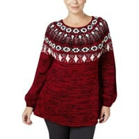 Style & Co. Womens Plus Fair Isle Marled Pullover Sweater